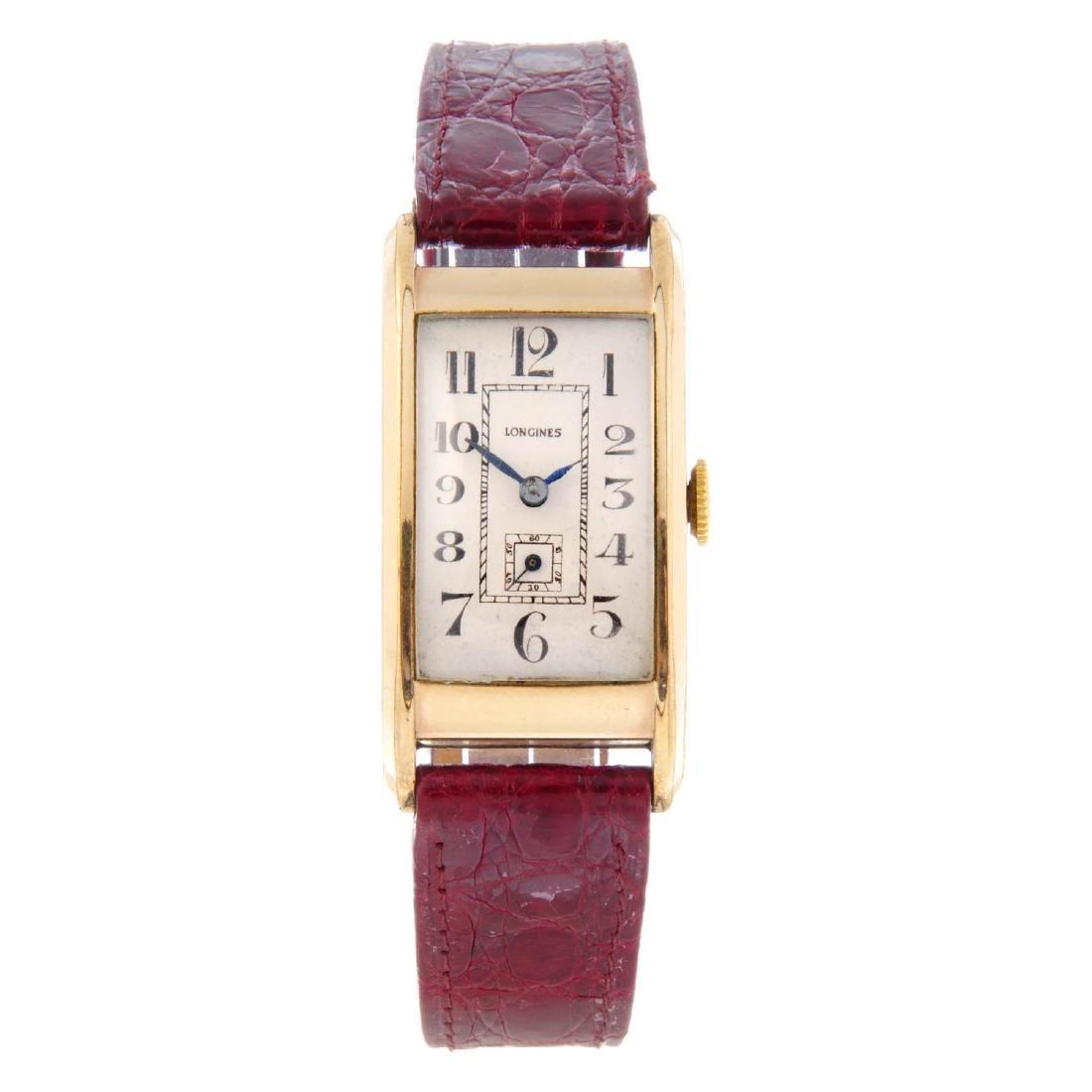 LONGINES - a gentleman's wrist watch. Gold plated case