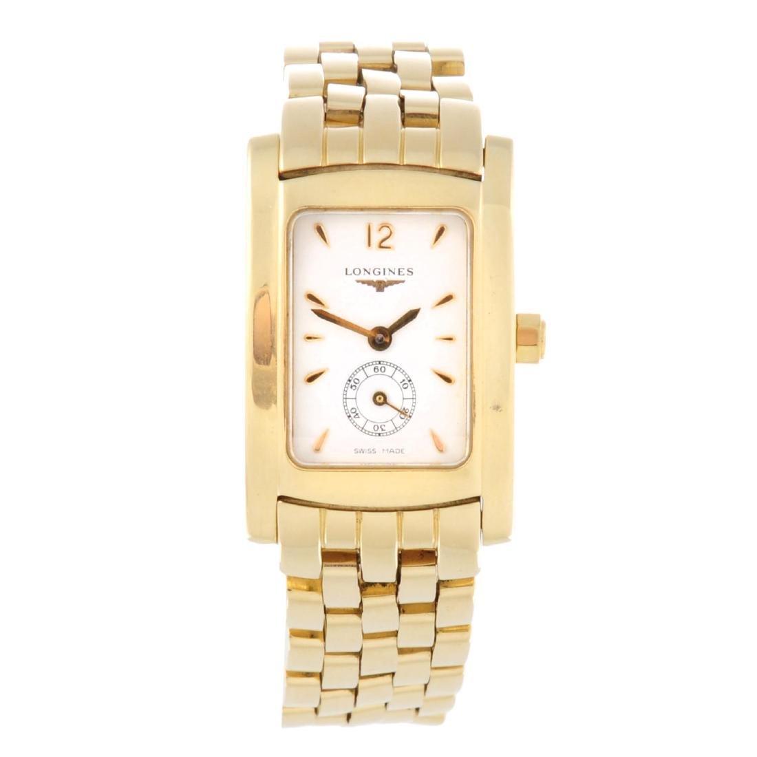 LONGINES - a mid-size Dolce Vita bracelet watch. 18ct