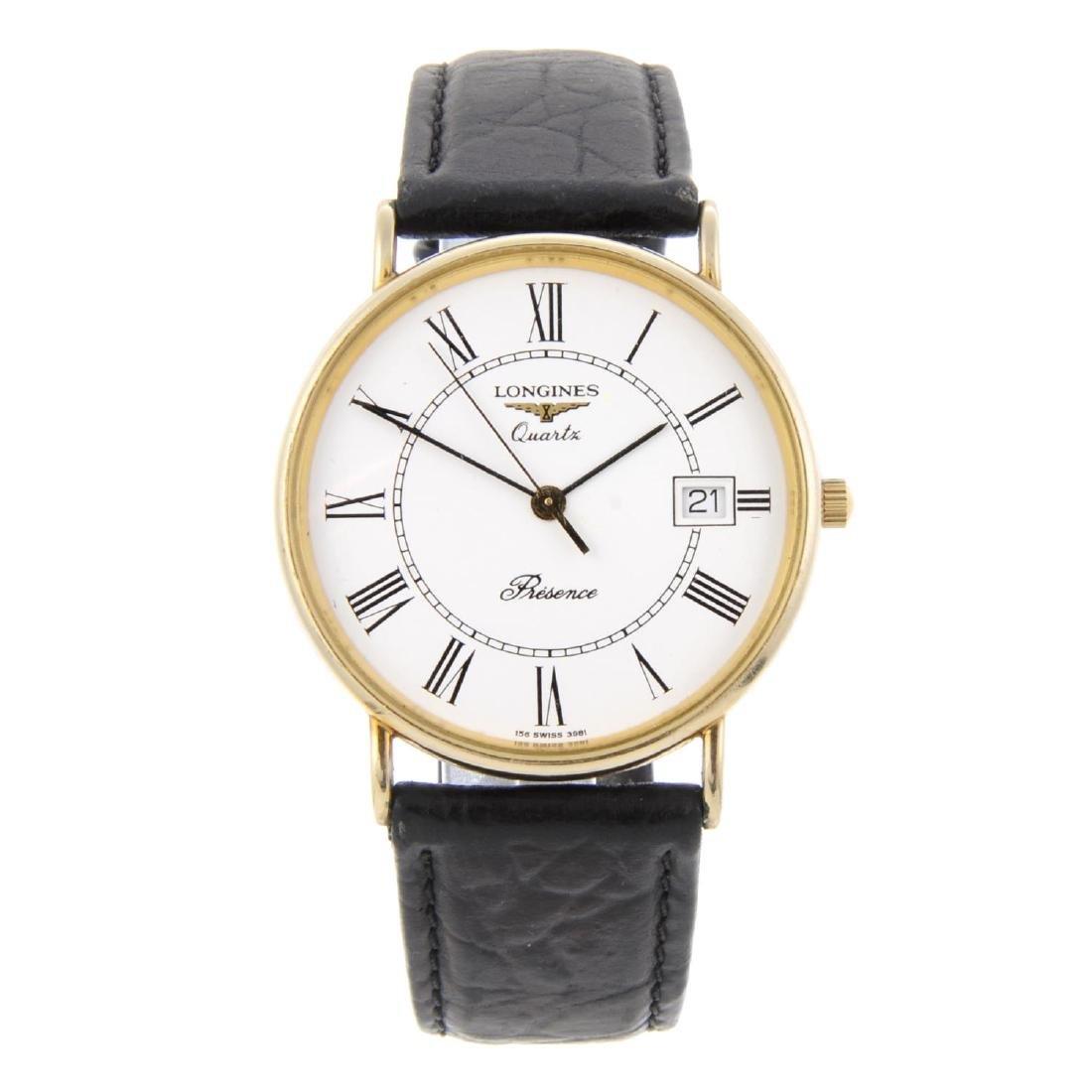 LONGINES - a gentleman's Presence wrist watch. 9ct