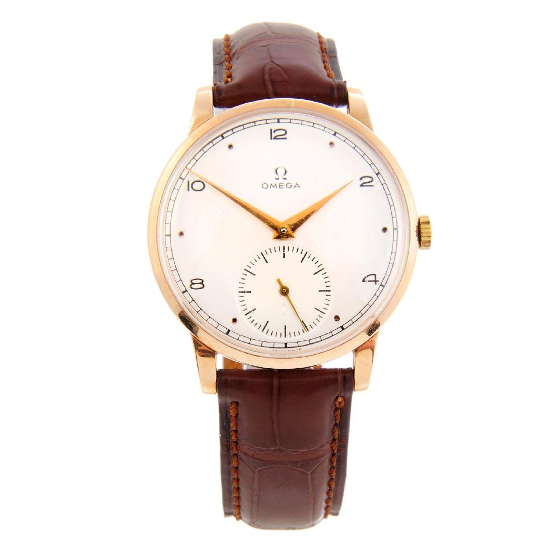OMEGA - a gentleman's wrist watch. Rose metal case,