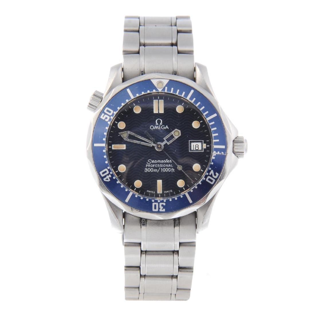 OMEGA - a mid-size Seamaster 300M bracelet watch.