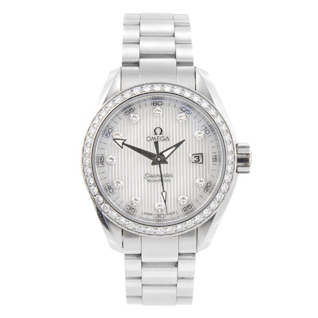 OMEGA - a lady's Seamaster Aqua Terra bracelet watch.