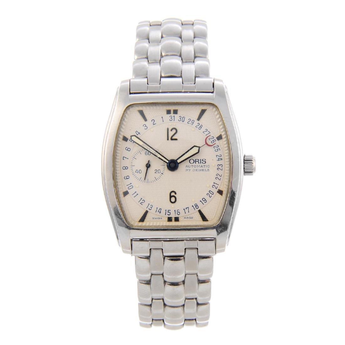 ORIS - a gentleman's Tonneau Regulator bracelet watch.