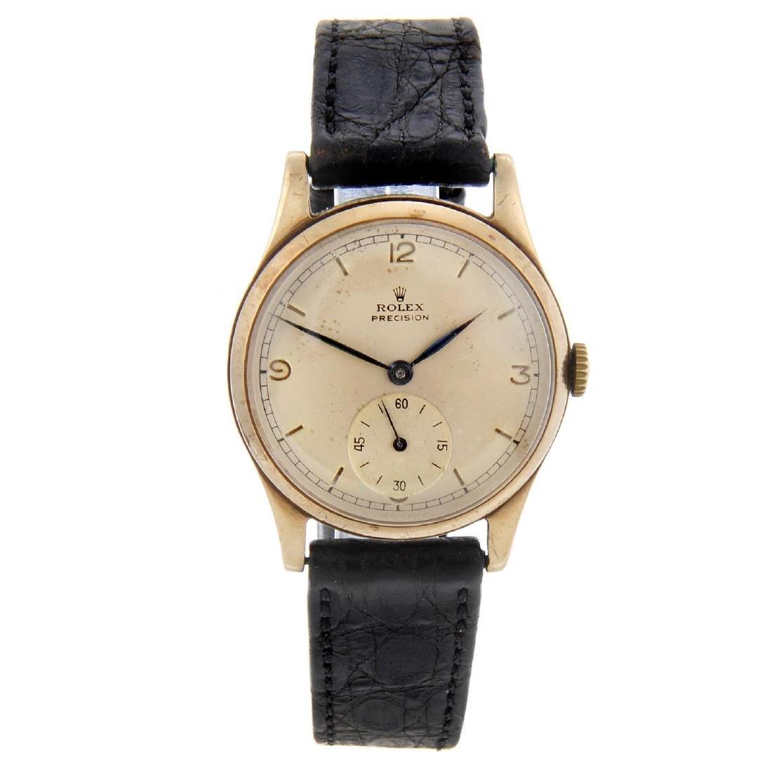 ROLEX - a gentleman's Precision wrist watch. 9ct yellow