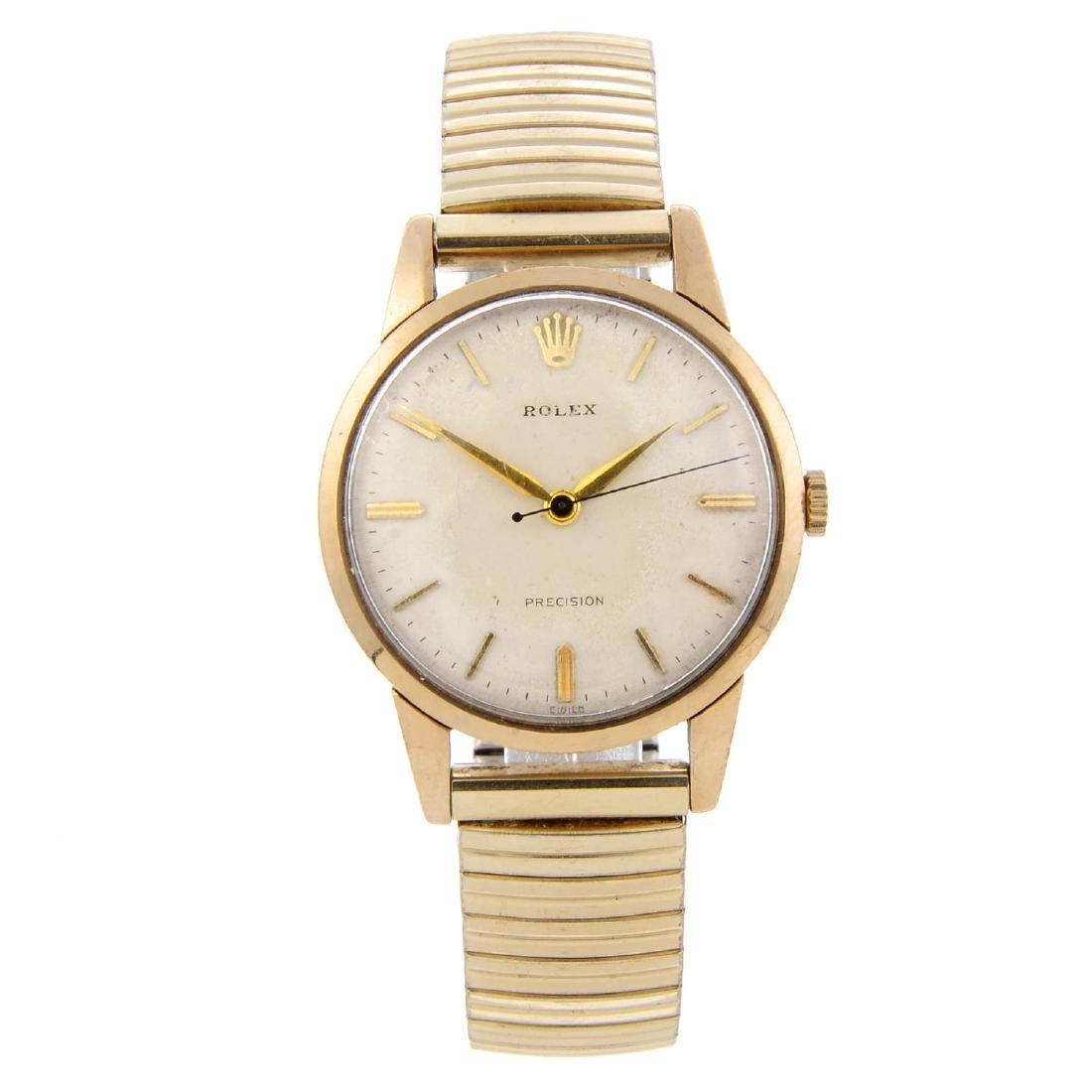 ROLEX - a gentleman's Precision bracelet watch. 9ct