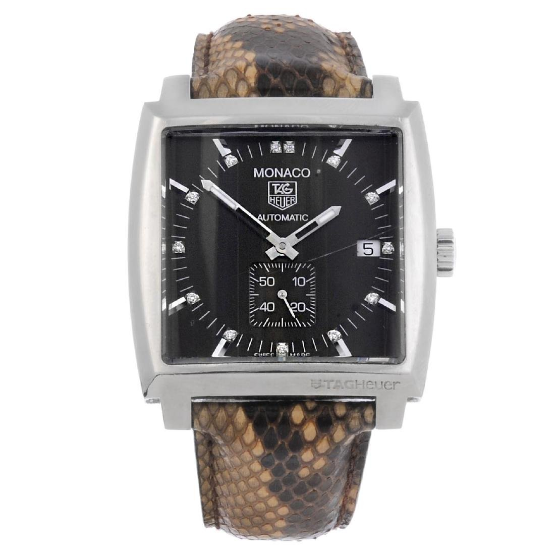 TAG HEUER - a gentleman's Monaco wrist watch. Stainless