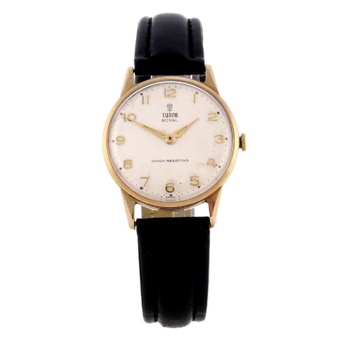 TUDOR - a gentleman's Royal wrist watch. Yellow metal