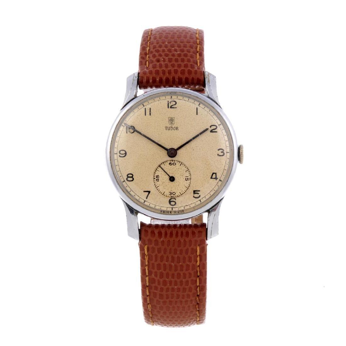 TUDOR - a gentleman's wrist watch. Base metal case with