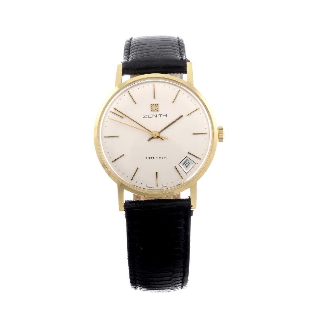 ZENITH - a gentleman's wrist watch. Yellow metal case,