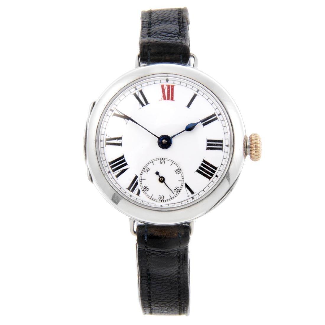 ROLEX - a gentleman's trench style wrist watch. Silver