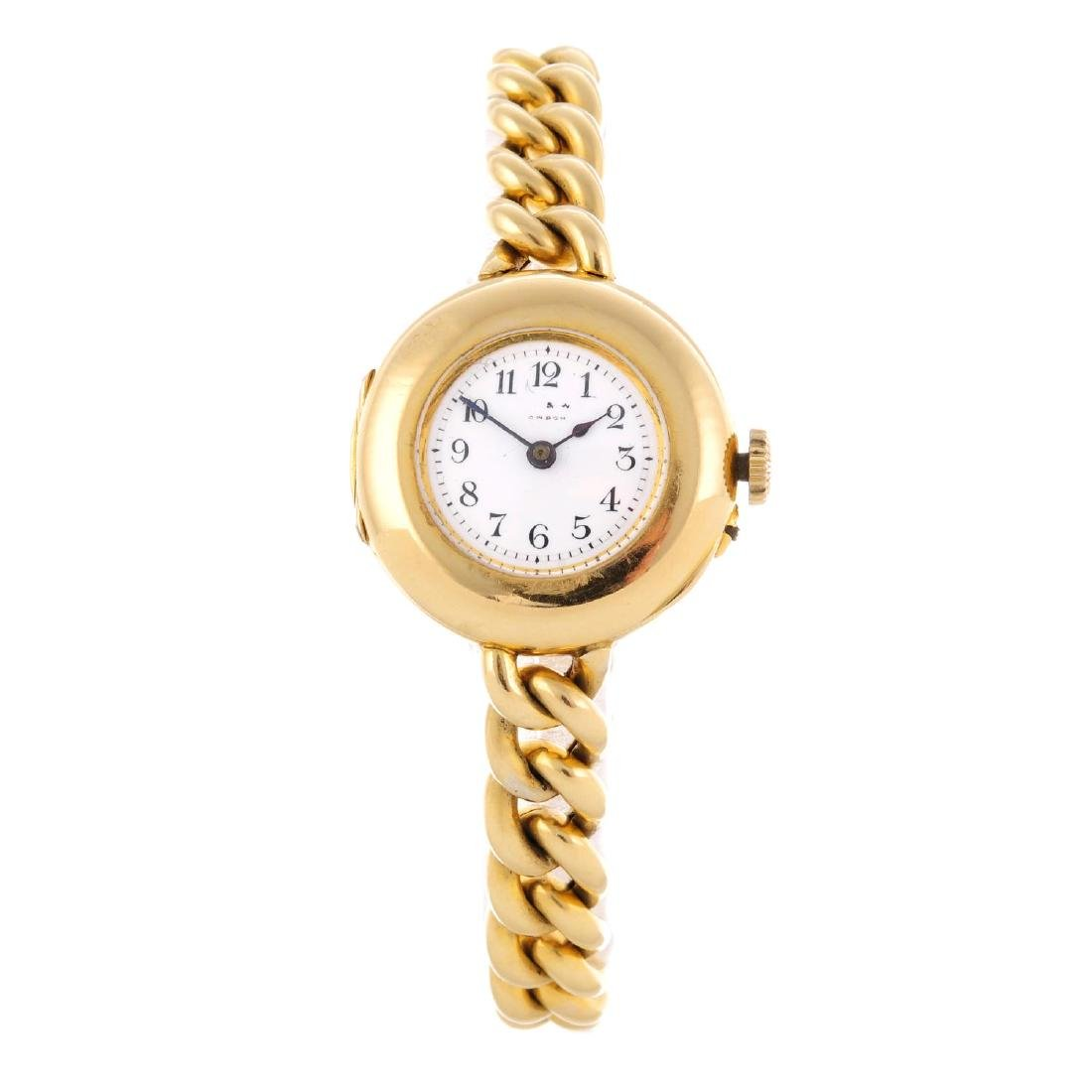 A lady's bracelet watch. 18ct yellow gold case, import