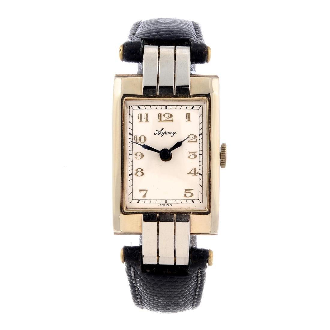 ASPREY - a gentleman's wrist watch. 9ct yellow gold