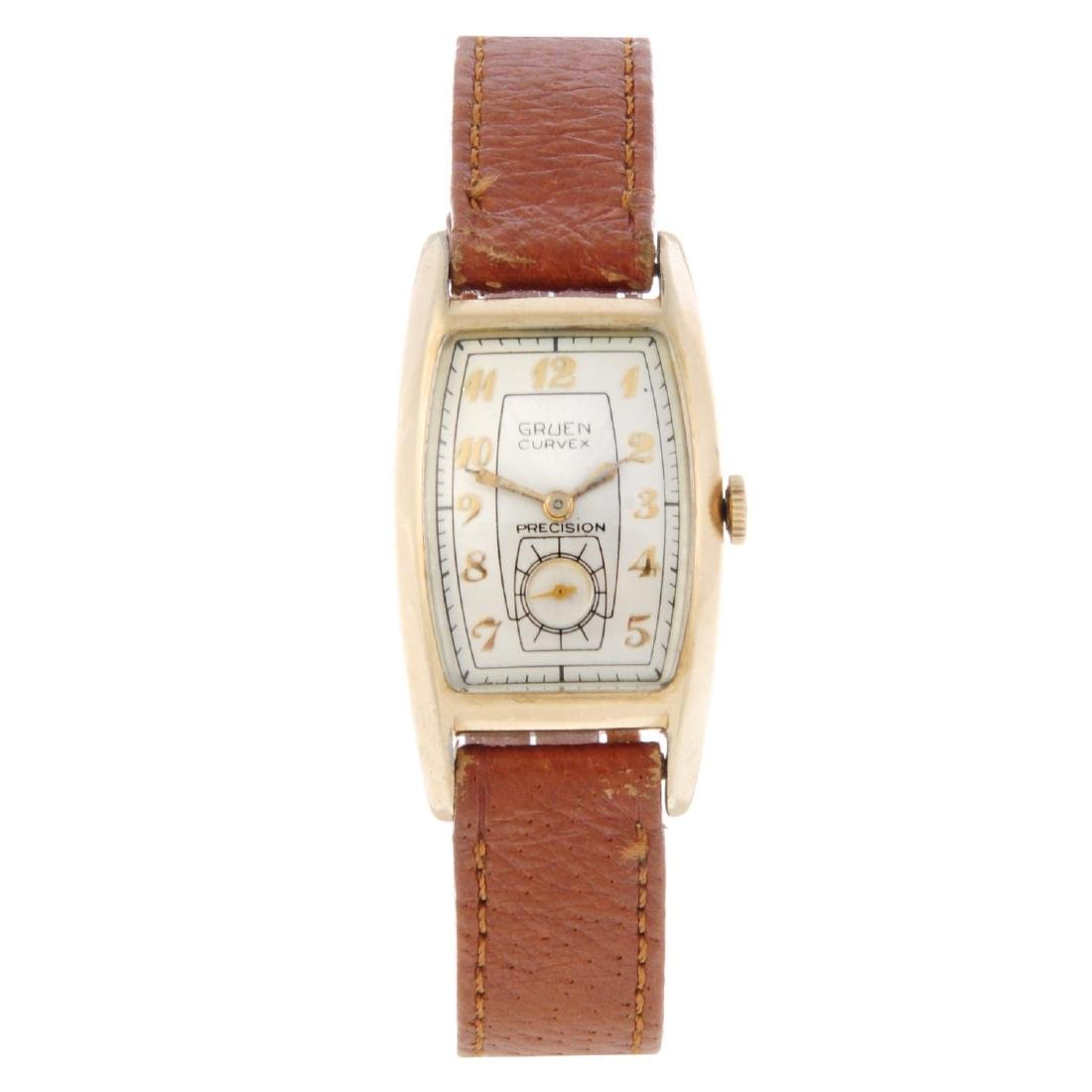 GRUEN - a gentleman's Curvex wrist watch. Gold filled