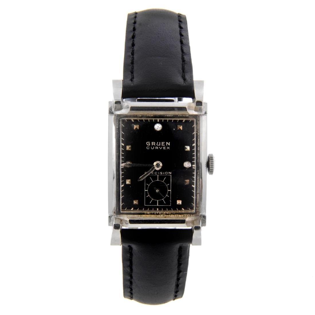 GRUEN - a mid-size Curvex Precision wrist watch. White