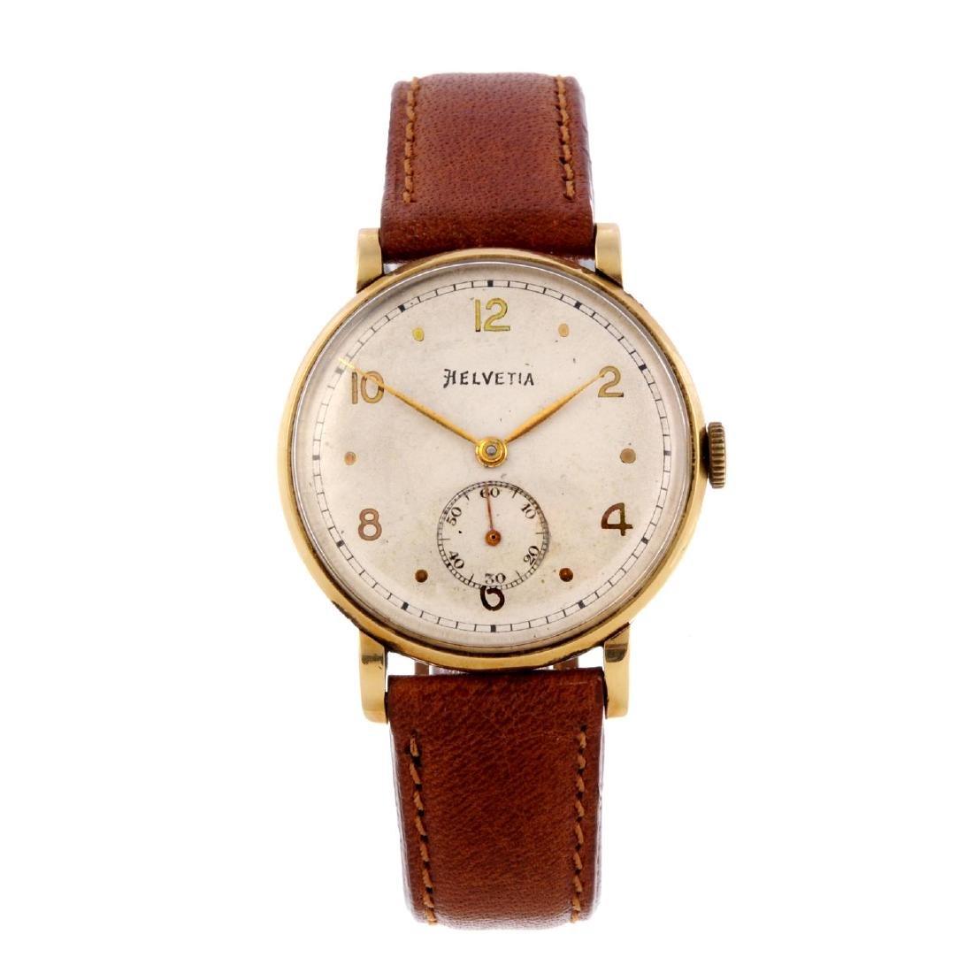 HELVETIA - a gentleman's wrist watch. Yellow metal case