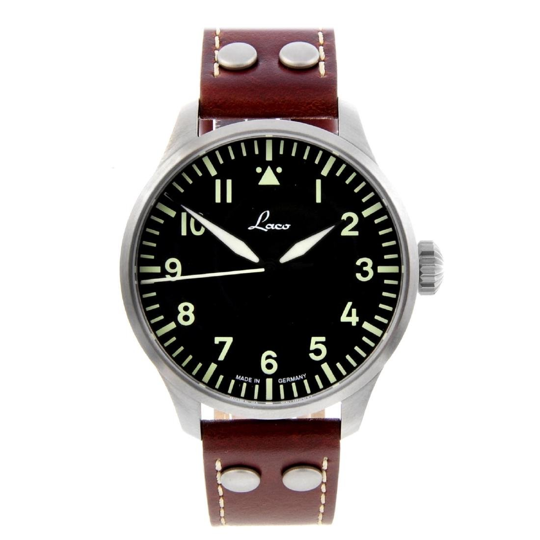 LACO - a gentleman's Augsburg 42 wrist watch. Stainless