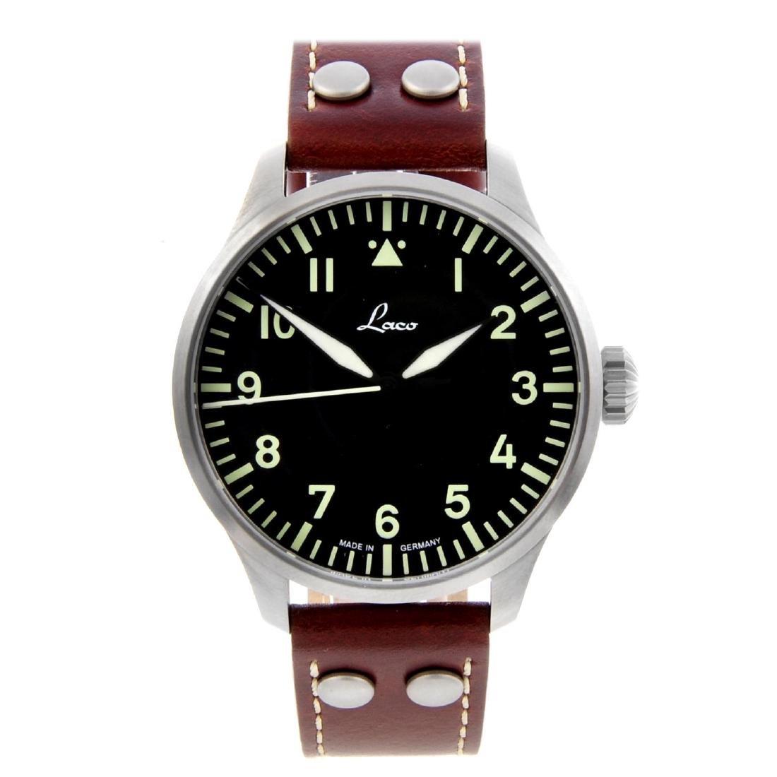 LACO - a gentleman's Augsburg 42 wrist watch. Stainless