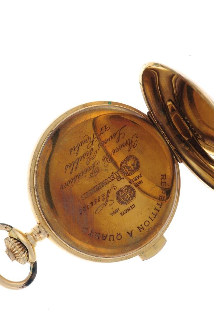 A full hunter quarter repeater pocket watch. Yellow - 4