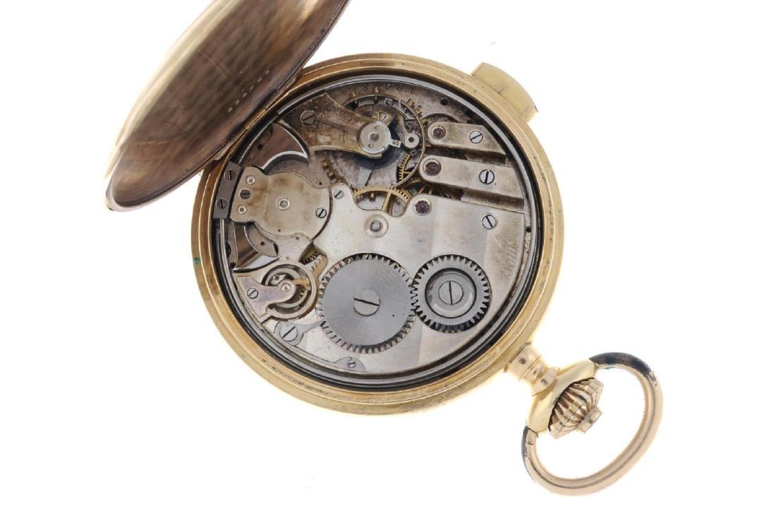 A full hunter quarter repeater pocket watch. Yellow - 5