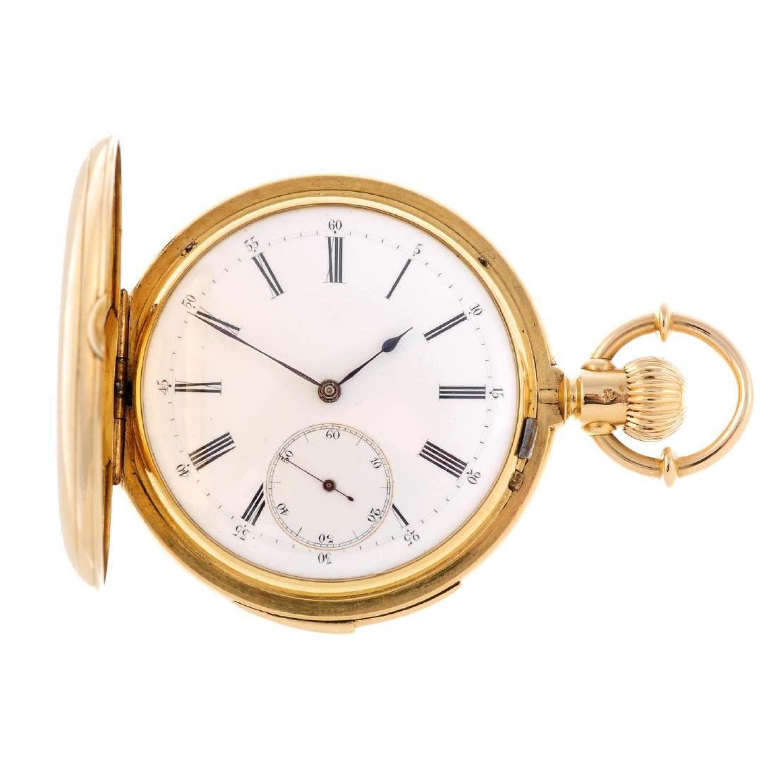 A full hunter quarter repeater pocket watch. Yellow