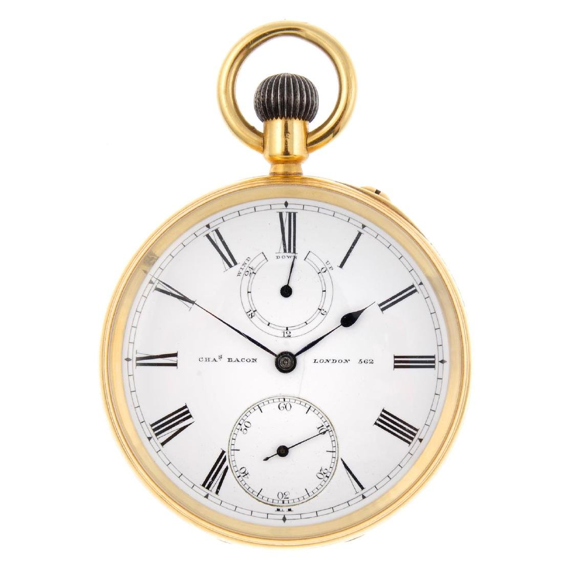 An open face pocket watch by C.Bacon. 18ct yellow gold