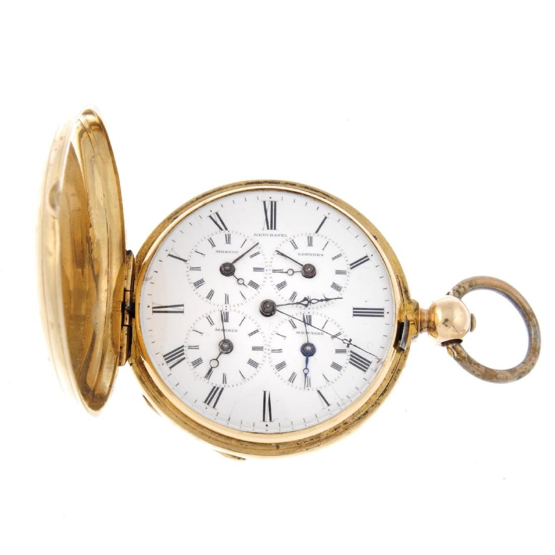 A full hunter five time-zone pocket watch by Neuchatel.