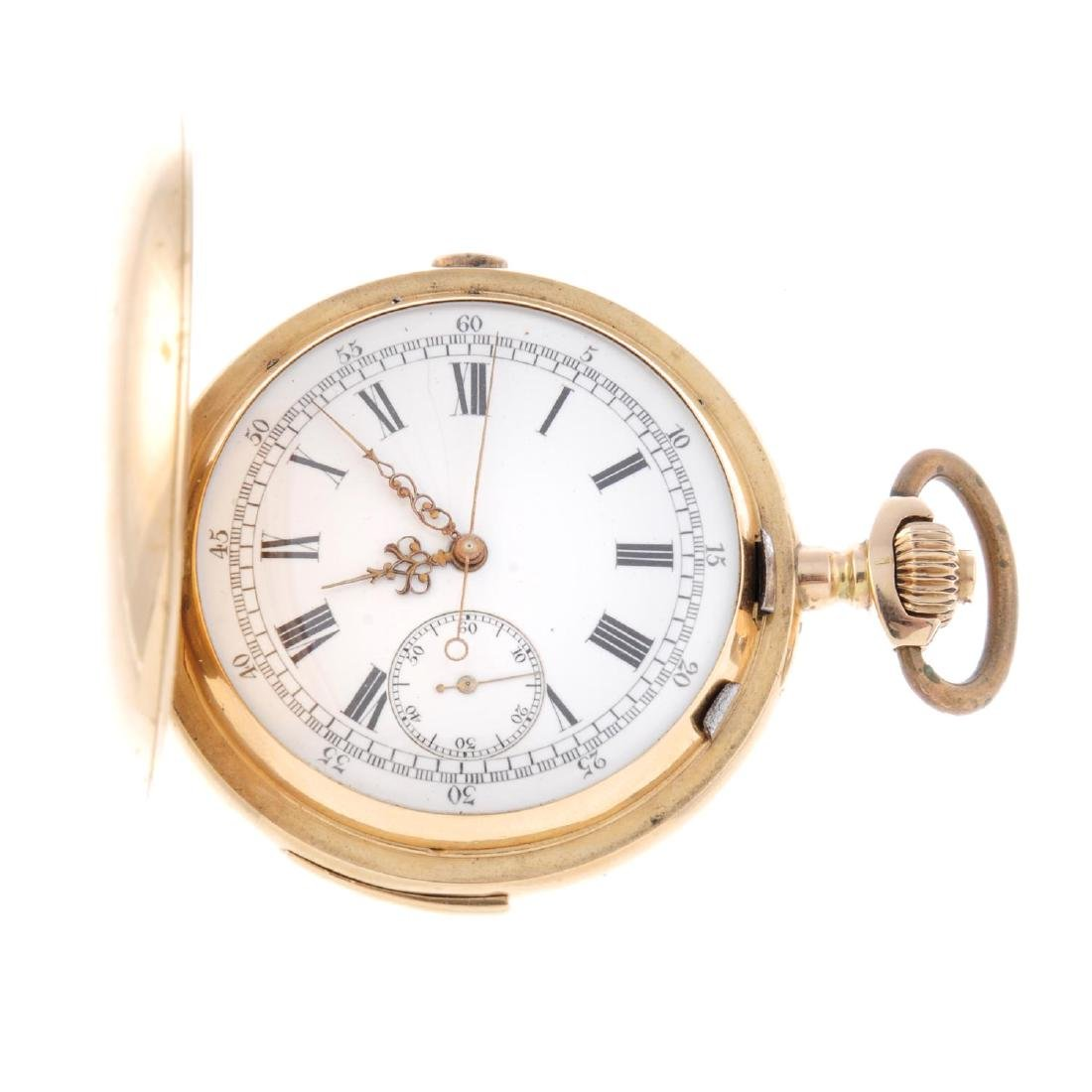 A full hunter repeater chronograph pocket watch. Yellow