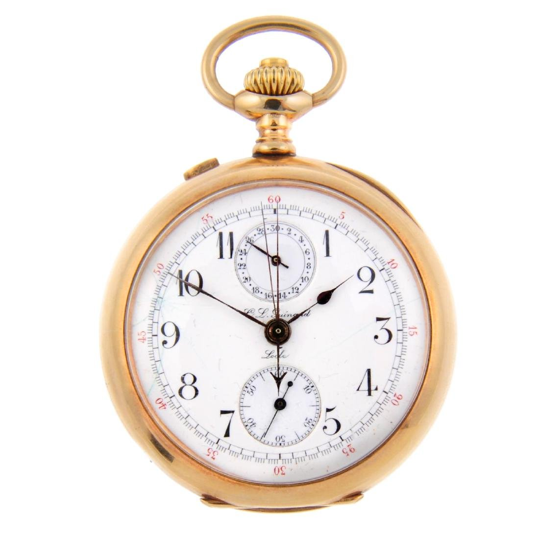An open face chronograph pocket watch by C.L. Guinand.
