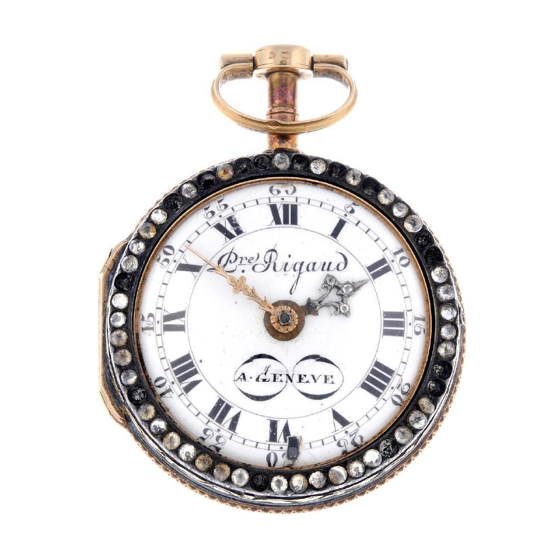 A pair case pocket watch by Rigaud. Yellow metal cases,