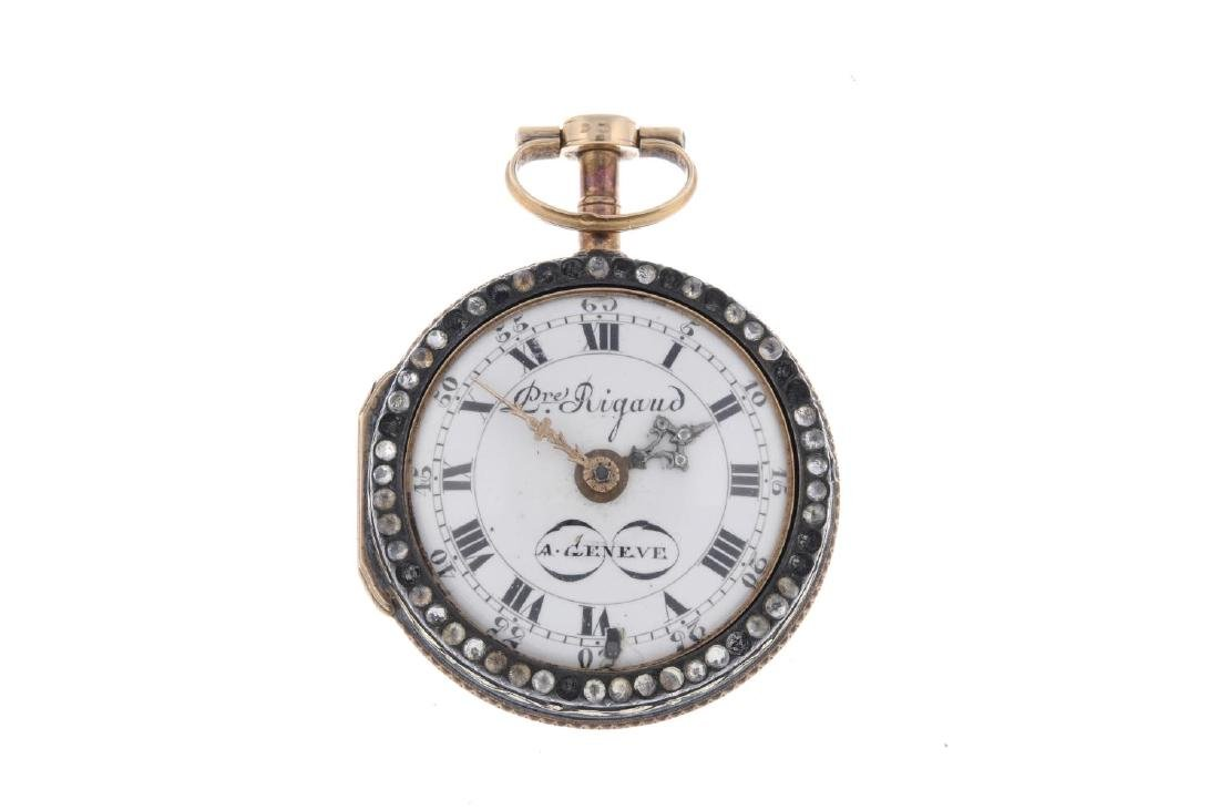 A pair case pocket watch by Rigaud. Yellow metal cases, - 4