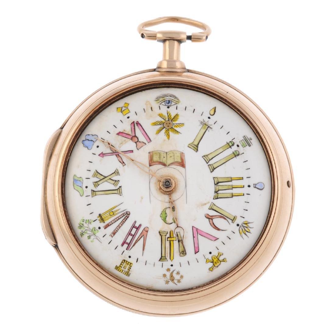 A pair case Masonic pocket watch by T. Earnshaw. 18ct