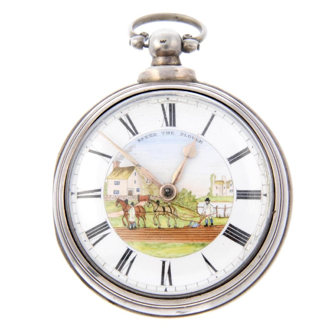 A pair case pocket watch by J. Maddock. Silver cases,