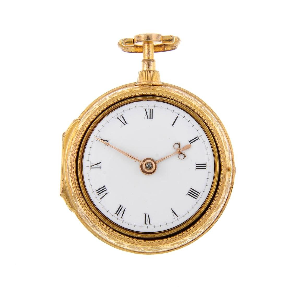 A pair case pocket watch by Thomas Perry. Gold plated