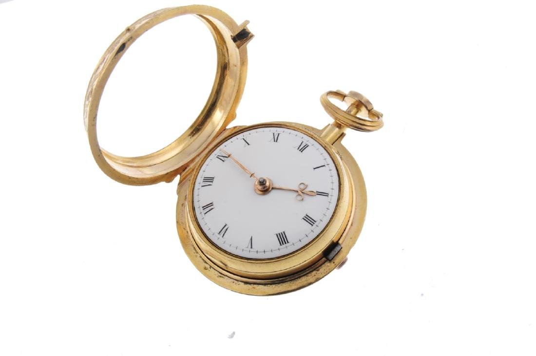A pair case pocket watch by Thomas Perry. Gold plated - 3