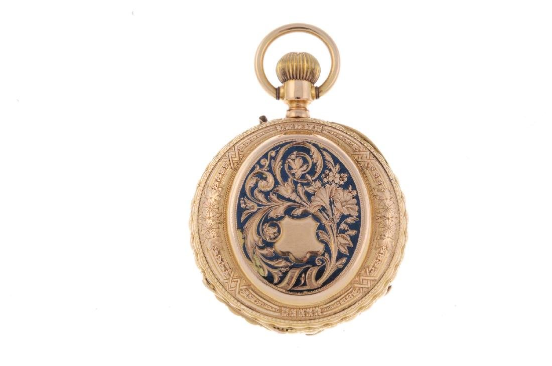 An open face pocket watch. Yellow metal case with - 2