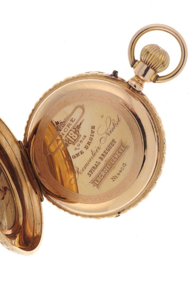 An open face pocket watch. Yellow metal case with - 3