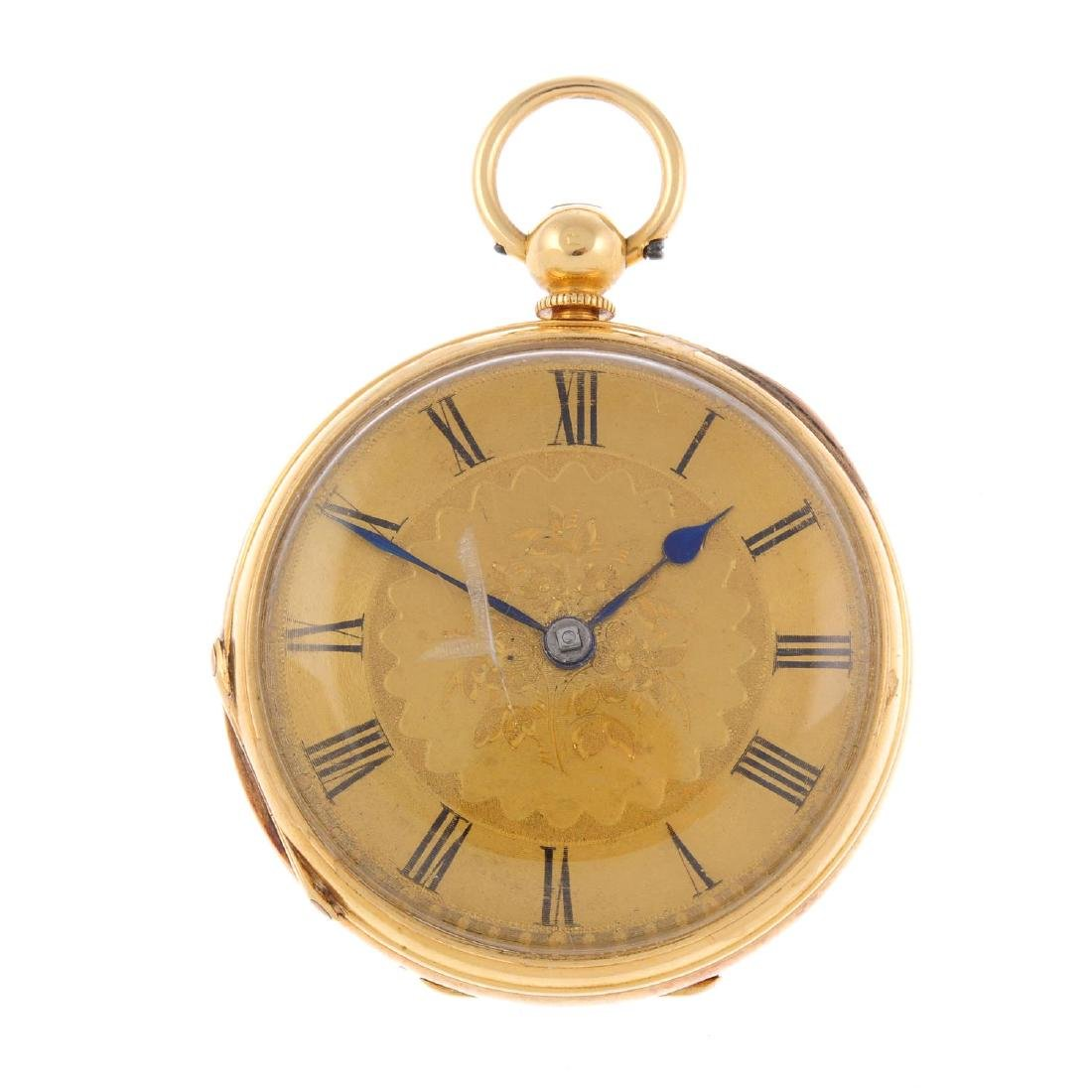 An open face pocket watch by G. Andrews. 18ct yellow