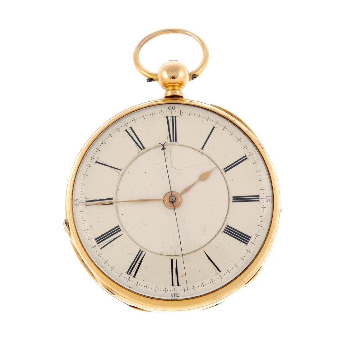 An open face centre seconds pocket watch by J. Haynes.
