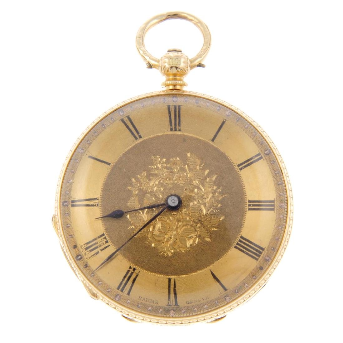 An open face fob watch by Baume B&L Genève. Yellow