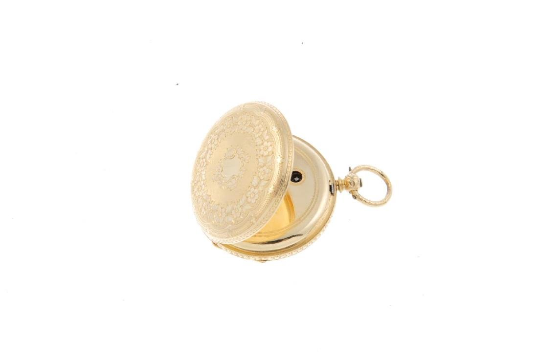 An open face fob watch by Baume B&L Genève. Yellow - 2