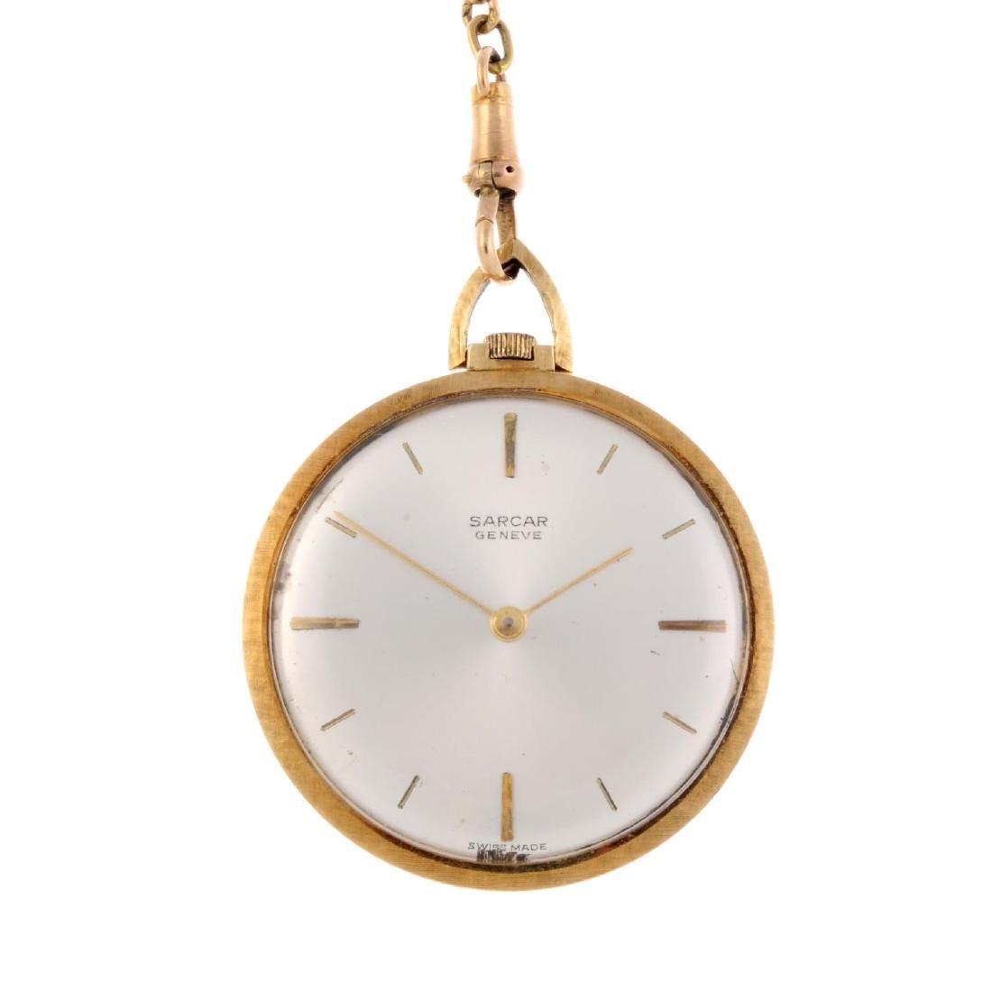 An open face pocket watch by Sarcar. Yellow metal case,