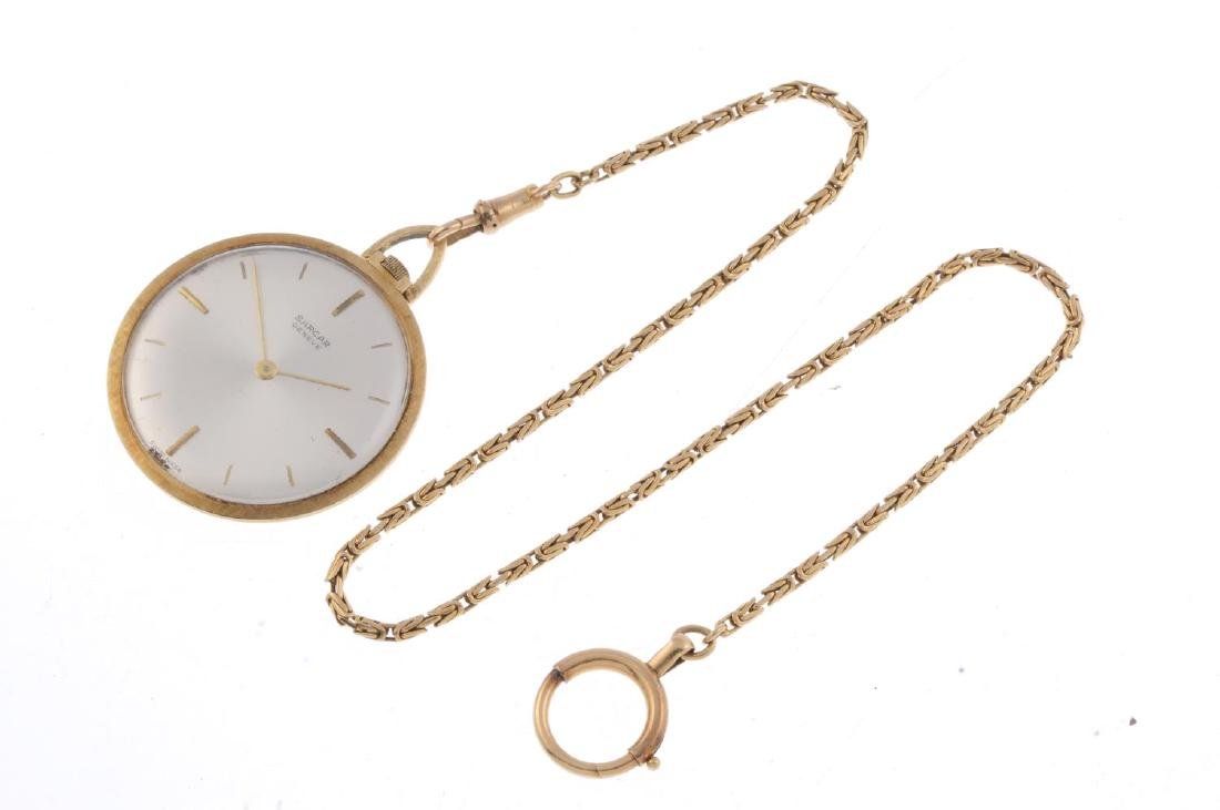 An open face pocket watch by Sarcar. Yellow metal case, - 3