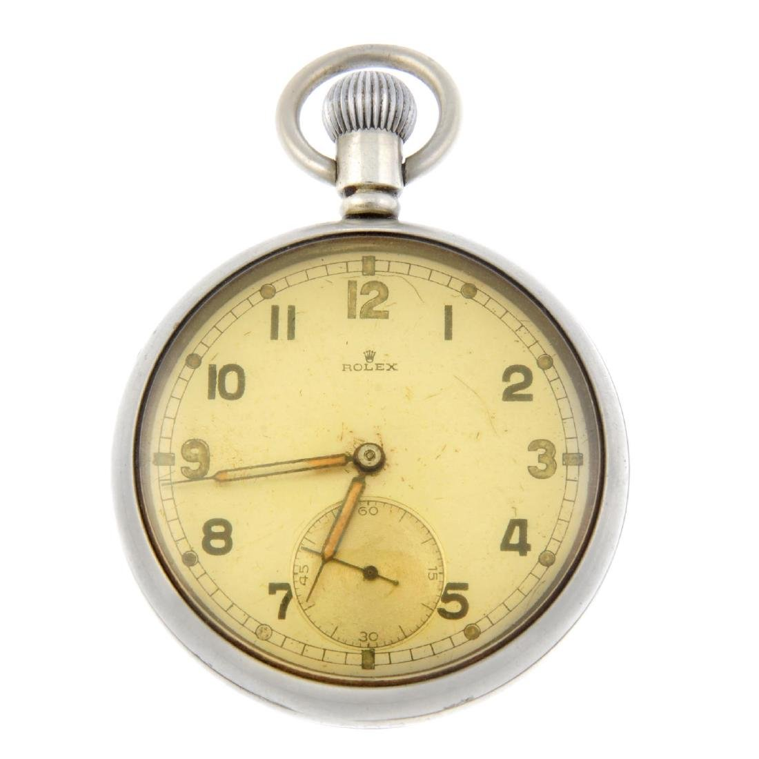 A military issue pocket watch by Rolex. Nickel plated