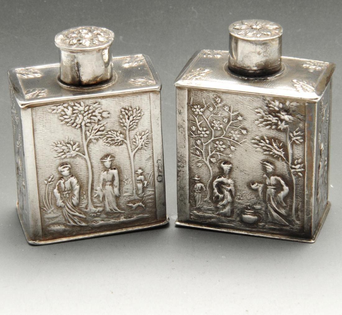 An eighteenth century Dutch silver miniature tea caddy,