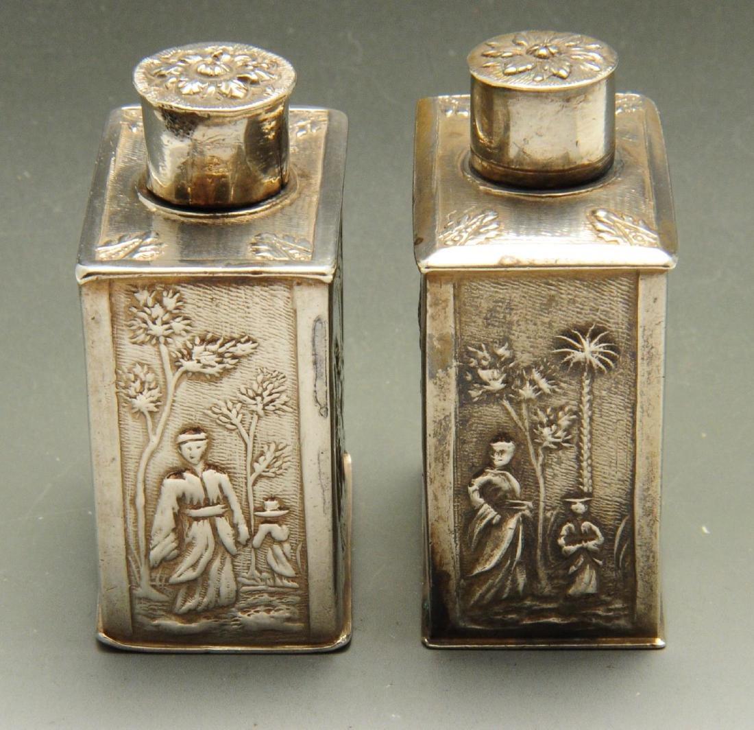 An eighteenth century Dutch silver miniature tea caddy, - 4