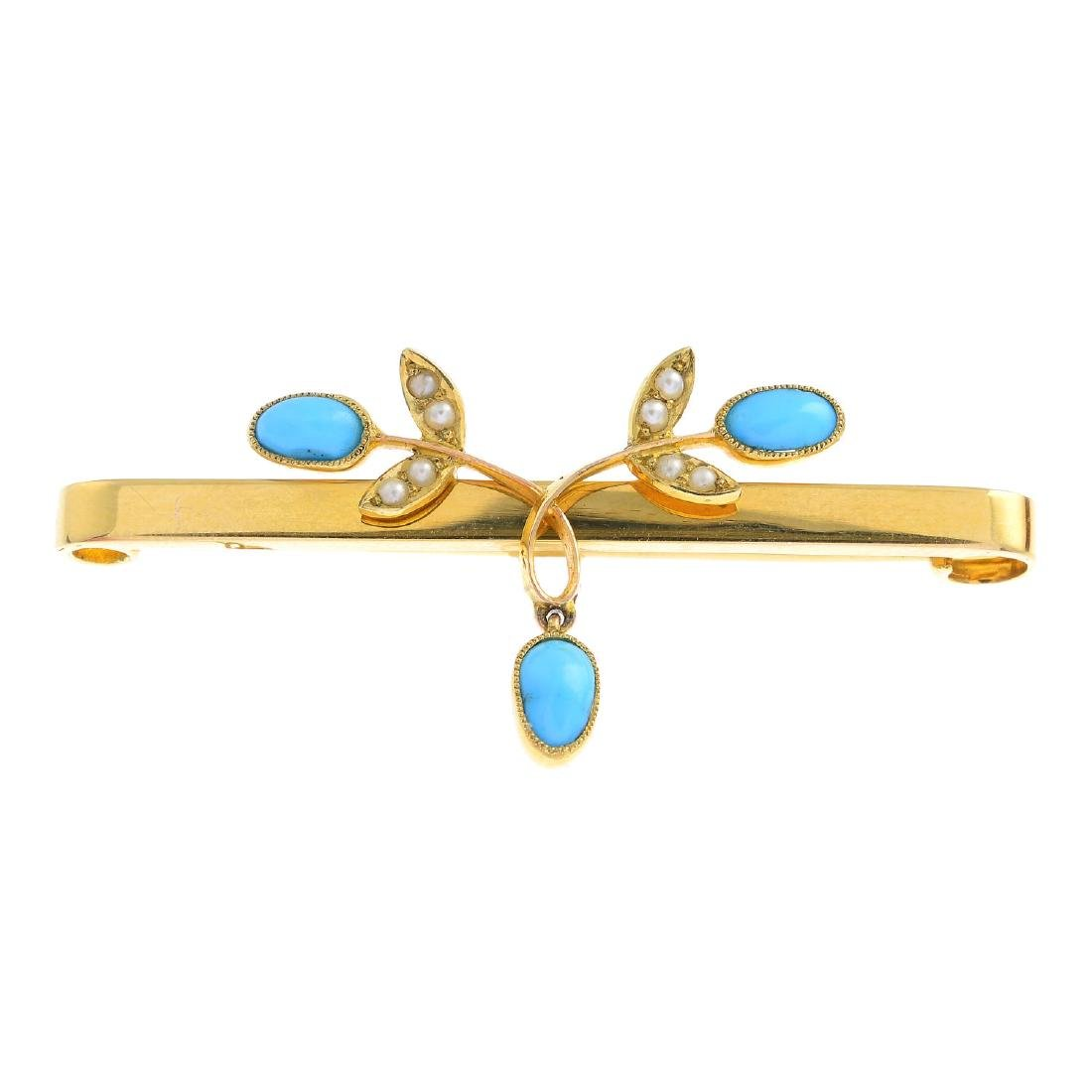 An early 20th century 15ct gold turquoise and split