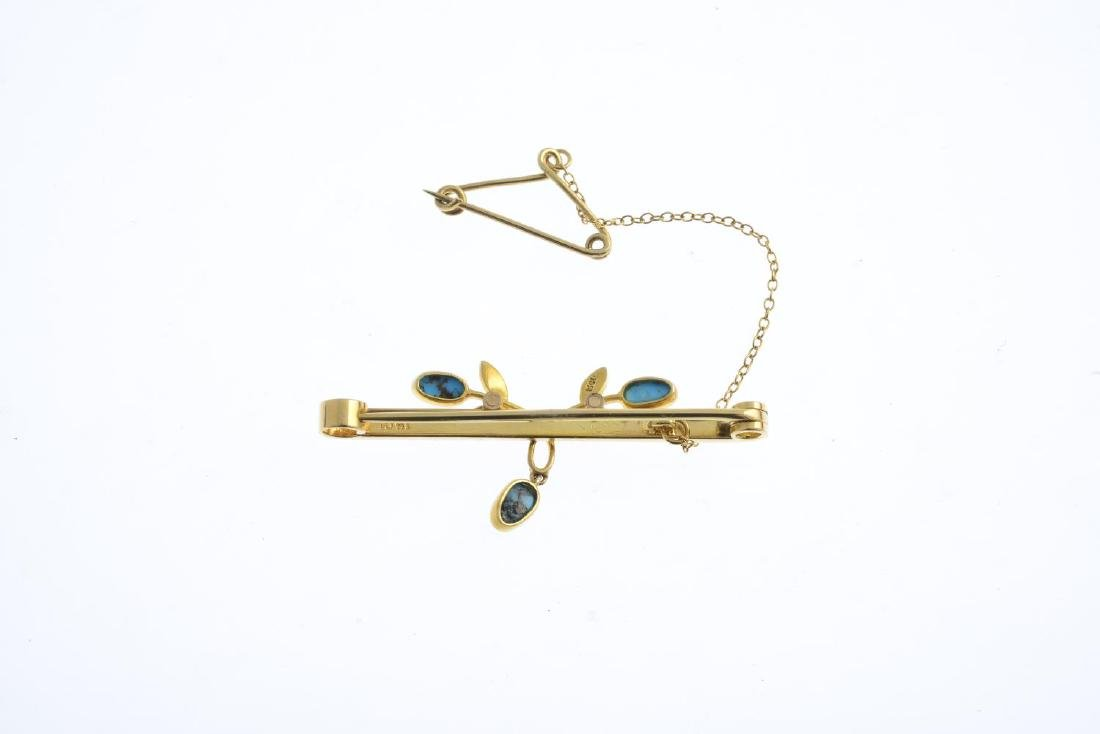 An early 20th century 15ct gold turquoise and split - 2