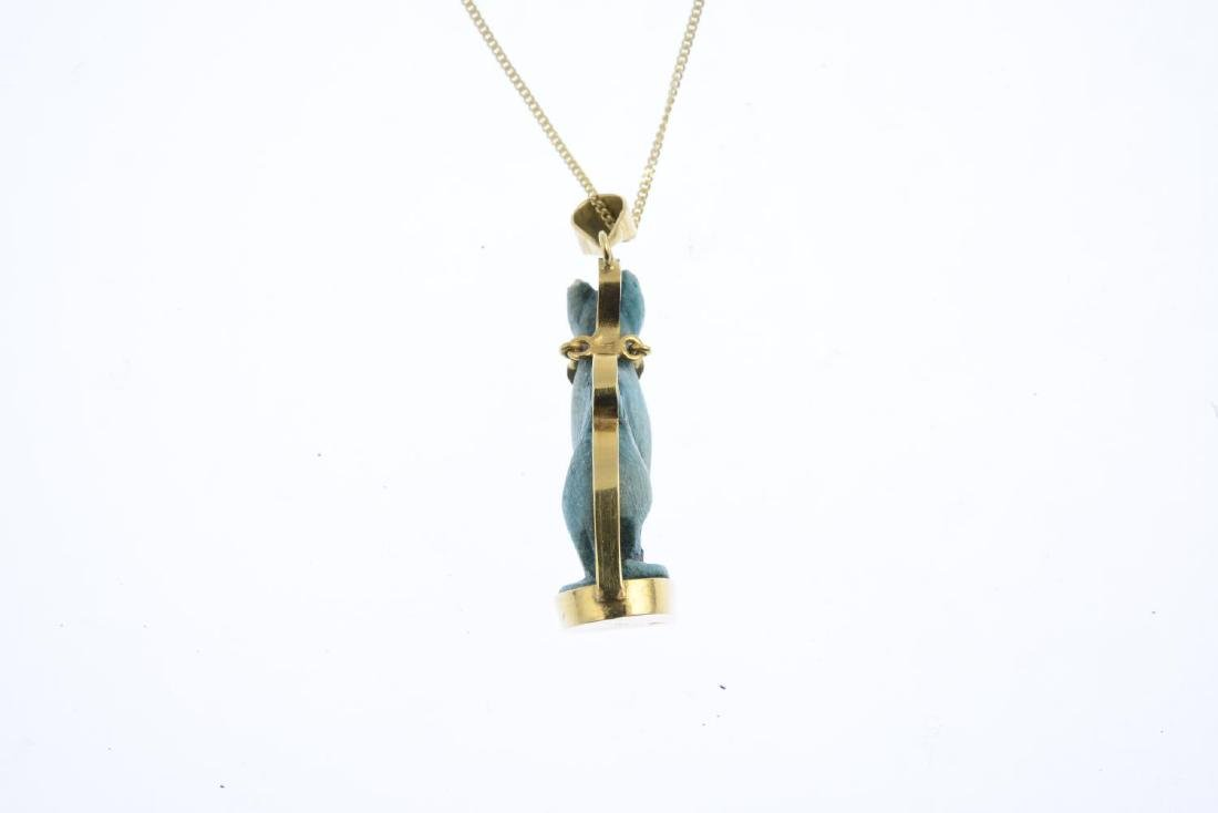 A 'Bastet' ceramic pendant. The dyed bluish-green - 3