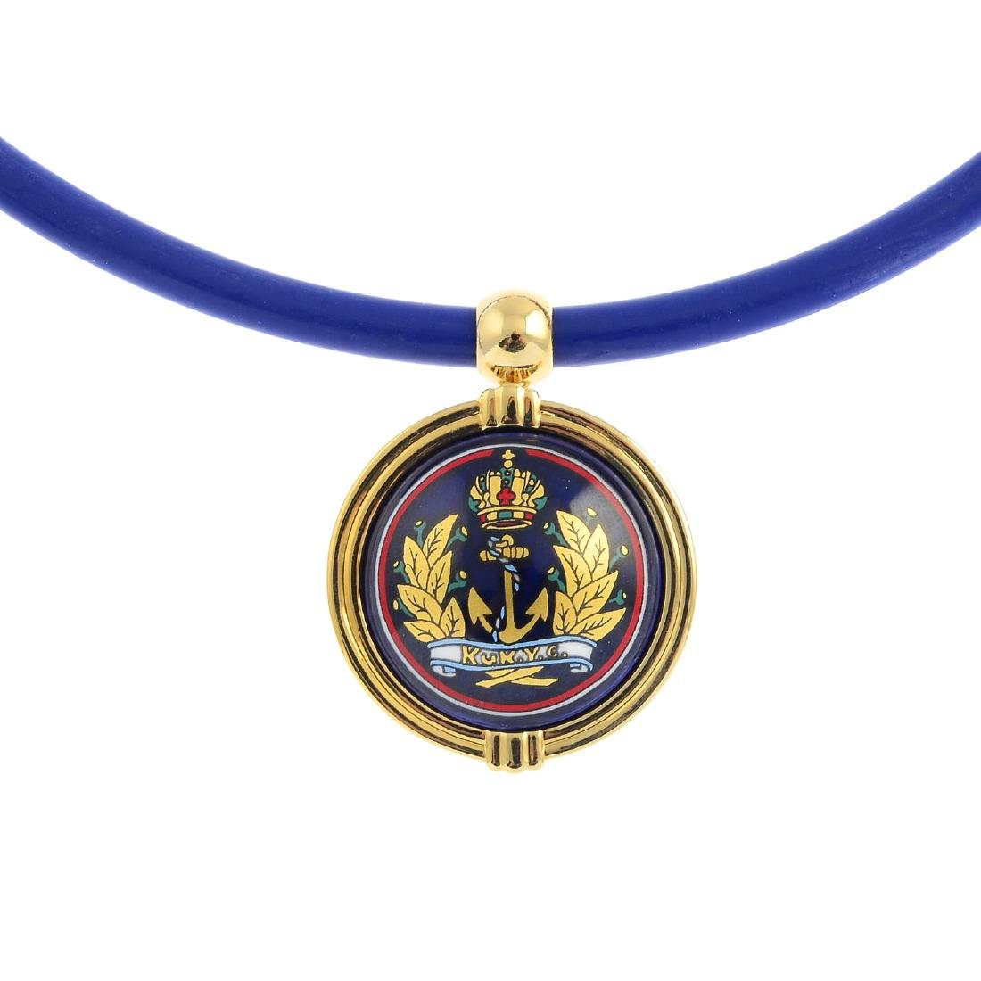 MICHAELA FREY - an enamel pendant. The circular enamel