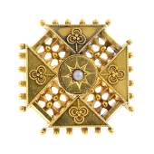 A late Victorian 15ct gold split pearl brooch. Of